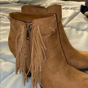 Faux suede fringe ankle boot. Never worn